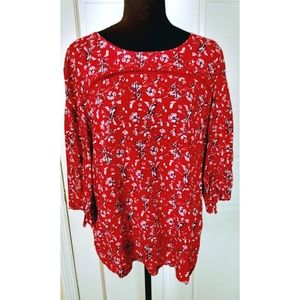 Cynthia Rowley floral bell sleeve blouse